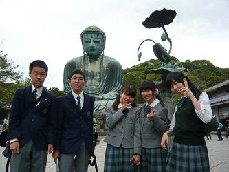 鎌倉の大仏様の前で